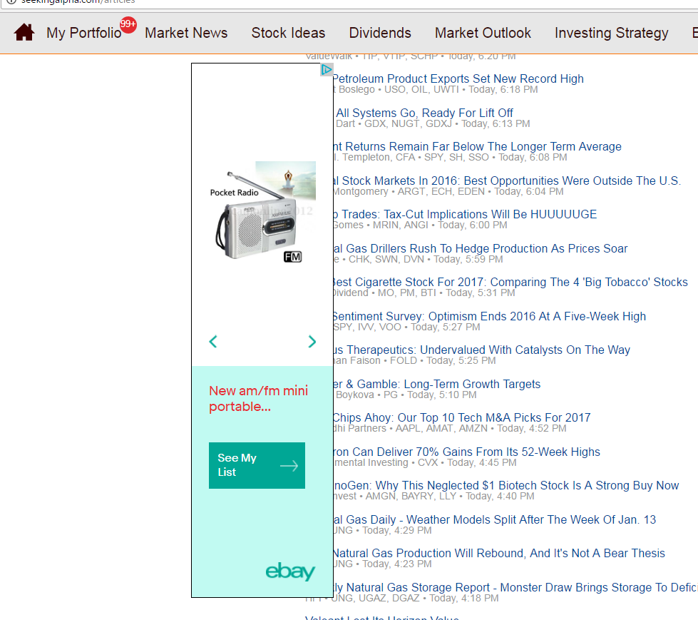 On the Latest Articles page, the ad alignment covers the