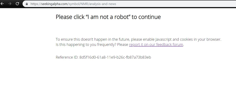 I am not a robot / Feedback Forum / Seeking Alpha