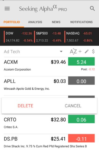 How do I delete a stock from my portfolio on     / Knowledge
